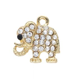 Glamm ™ Elephant / charm pendant / with zircons / 16x15.5x4mm / gold plated / 1pcs