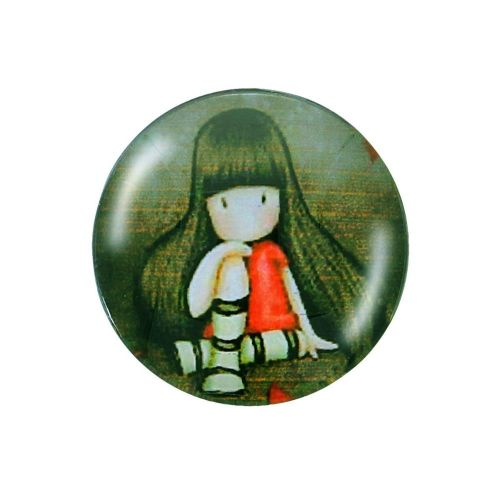 Glass cabochon with graphics 12mm PT1168 / dark green / 4pcs