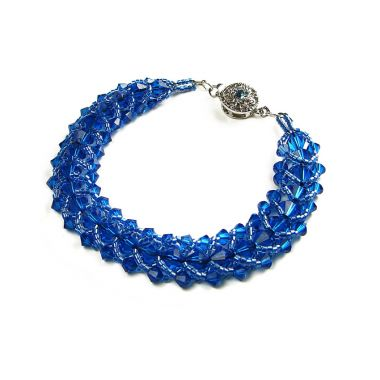 Stitched Flat Spiral Bracelet in Blue
