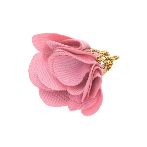 Satin Flower / with an openwork tip / 26mm / Gold Plated / pink / 2 pcs