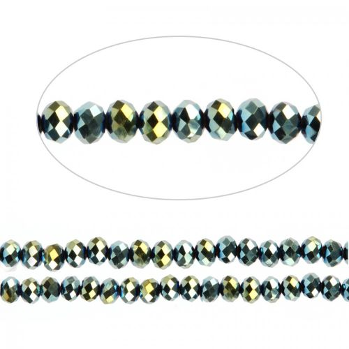 """Lime Green Full Coat Essential Crystal Glass Faceted Rondelle Beads 6mm 16""""Strand"""