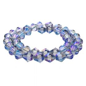 CrystaLove™ crystals / glass / bicone / 8mm / grey-blue / transparent / iridescent / 40pcs