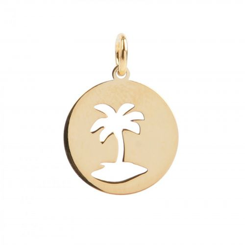 Gold Plated Sterling Silver 925 Cut Out Palm Tree Charm 13mm Pk1
