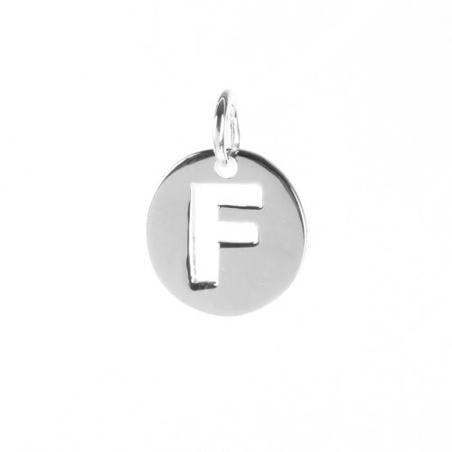 Sterling Silver 925 'F' Letter Cut Out Charm 11mm Pk1