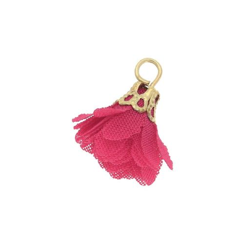 Tulle flower / with openwork tip / 18mm / Gold Plated / dark magenta / 4 pcs