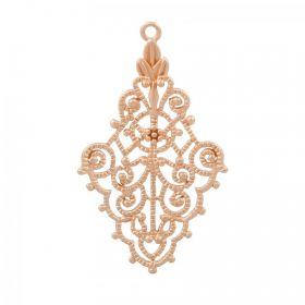 Rose Gold Plated Brass Filigree Charm 20x32mm Pack 1