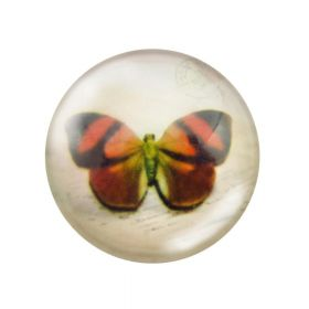 Glass cabochon with graphics 20mm PT1528 / black and orange / 2pcs