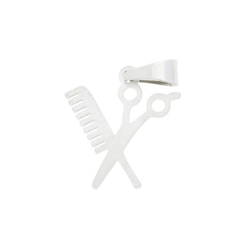 Scissors and comb / charm pendant / with bail / surgical steel / 16x14mm / silver / 1pcs