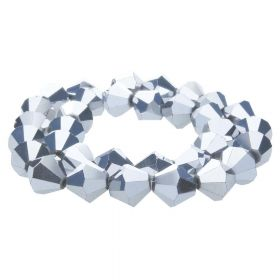 CrystaLove™ crystals / glass / bicone / 10mm / chrome / lustered / 32pcs