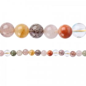 "Multi Colour Rutilated Quartz Round Beads 8mm 15""Strand"