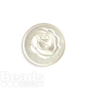 KB Small Matte Silver Rose/Love Coin Disk for Interchangeable Locket 24mm Pk1
