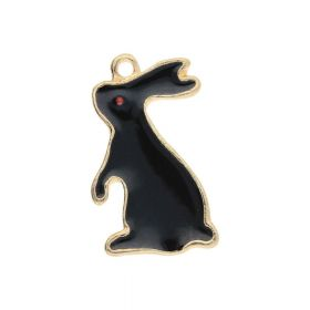 SweetCharm ™ Rabbit / charm pendant / 22x13x1.5mm / gold plated / black / 2pcs