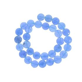 Agate / faceted disk / 12x12mm / royal blue / 30pcs