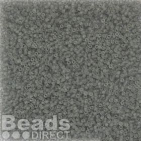 Toho Size 15 Round Seed Beads Transparent-Frosted Light Grey 10g