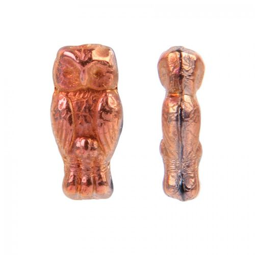 Copper Preciosa Czech Glass Owl Beads 7x15mm Pk20