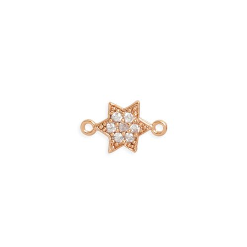 """X"" Rose Gold Plated Brass Small Star Connector with Crystals 8mm Pk1"