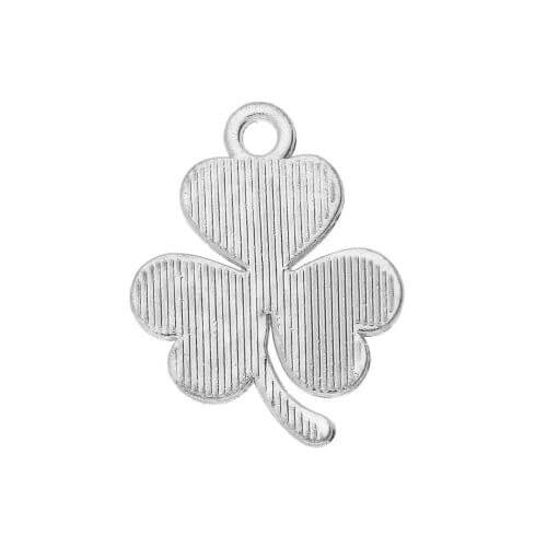 Glamm ™ Clover / charm pendant / with zircons / 19x15.5mm / silver plated / 1pcs