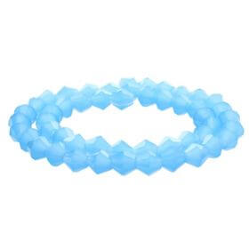 CrystaLove™ / glass crystals / bicone / 3mm / milky blue / transparent / 148pcs