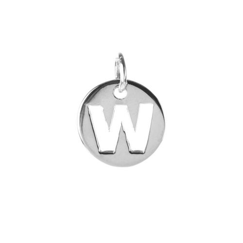 Sterling Silver 925 'W' Letter Cut Out Charm 11mm Pk1