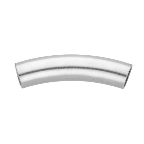 Curved tube bead / surgical steel / 30mm / hole 1.5mm / silver / 4pcs