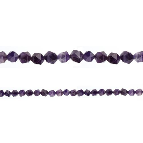 "X-Amethyst Faceted Nugget Semi Precious Beads 6mm 15"" Strand"