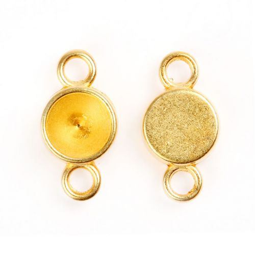 X Gold Plated Charm Setting for 8mm Chaton Pk2