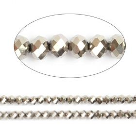 "Silver Full Coat Essential Crystal Glass Faceted Rondelle Beads 8mm 16""Strand"