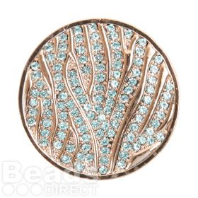 KB Rose Gold Plated Blue Crystal Coin Disk for Interchangeable Locket 32mm Pk1