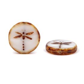 Preciosa Czech Glass Dragonfly Coin Bead White 17mm Pk3