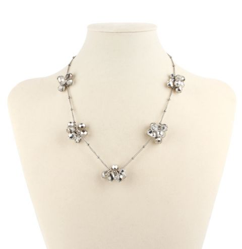 Silver Starlight Cluster Necklace