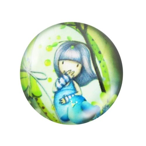 Glass cabochon with graphics 14mm PT1515 / green-blue / 4pcs