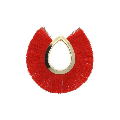 Tassel / viscose thread / large drop / 65mm / red / 1pcs