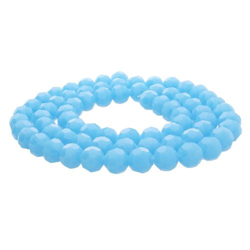CrystaLove™ crystals / glass / faceted round / 10mm / milky blue / lustered / 65pcs