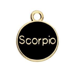 SweetCharm™ Zodiac sign scorpion / charm pendant / 15x12x1.5mm / gold-black / 1pcs