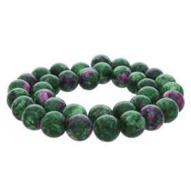 Zoisite with ruby (synthetic) / round / 8mm / 46pcs
