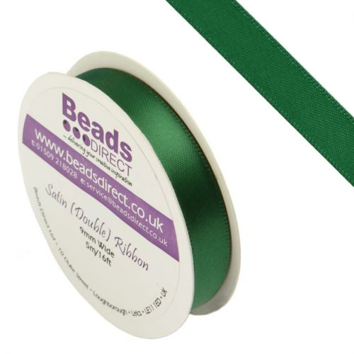 Green Double Satin Ribbon 9mm Sold on a 5 Metre Reel