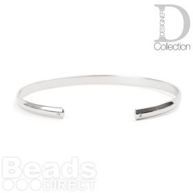 Rhodium Plated Brass Bangle Base W/Hole Inner 55x60mm Pk1