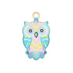 SweetCharm™ owl / charm pendant / 23x12x2.5mm / KC gold-light blue / 2pcs