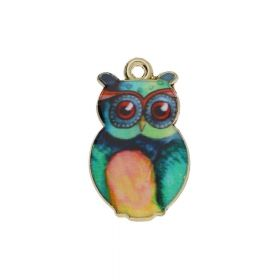 SweetCharm ™ Owl / pendant charms / 23x14x3mm / gold plated / 2pcs