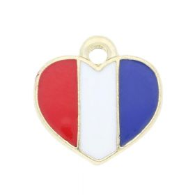 SweetCharm ™ Heart / charm pendant / 12mm  / gold plated / red-white-blue / 1pc