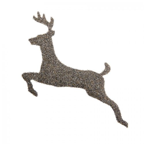Swarovski Crystal Reindeer HotFix/Iron On Fabric Crystal Dorado 93x141mm Pk1