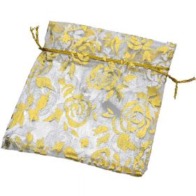 Organza bag / 10x12cm / cream with gold roses / 5pcs