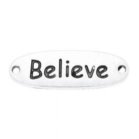 Believe / connector / 33x11x2.5mm / silver / 2pcs