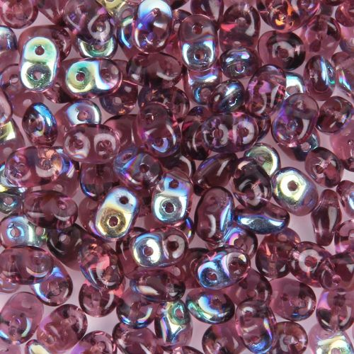 Amethyst AB SuperDuo Twin Hole Beads 2mm x 5mm 10g