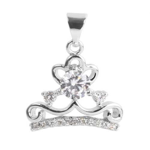 Silver Plated Crown Charm w/Bail Zircon Crystals 12x16mm Pk1