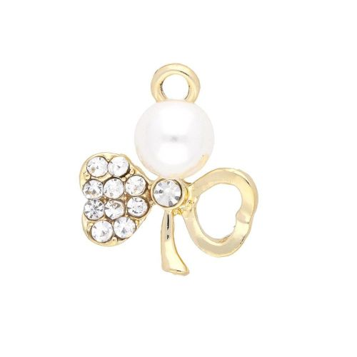 Glamm ™ Clover with pearl / charm pendant / 11 zircons / 21x18x10mm / gold plated / 1pcs