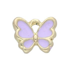SweetCharm ™ Butterfly / pendant charms / 10x12.5x2mm / gold plated / lilac / 2pcs