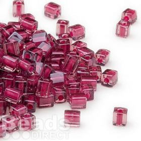 Beads Miyuki square colour lined 4mm pink/red 10g