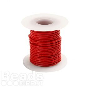 Red Round Leather Cord 1mm 5Metre Reel