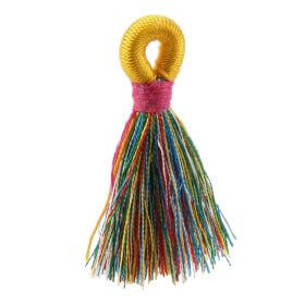 Multi/Fuchsia/Yellow Loop Tassel 40mm Pk1